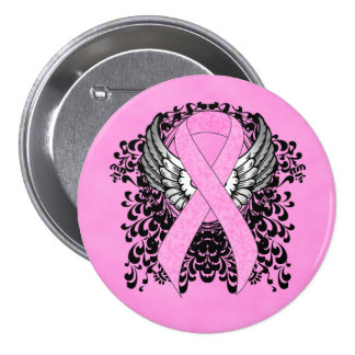 Pink Ribbon with Wings 7.5 Cm Round Badge