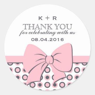 Pink Ribbons and Bows Polka Dots Wedding Stickers
