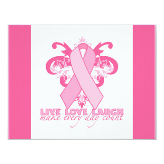 Pink Ribbons Every Day 11 Cm X 14 Cm Invitation Card
