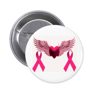 Pink Ribbons & Heart of Love & Support 6 Cm Round Badge