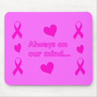 Pink Ribbons & Hearts Mouse Pads