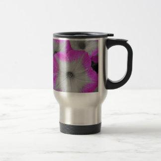 Pink Rimmed black and white petunias Mug