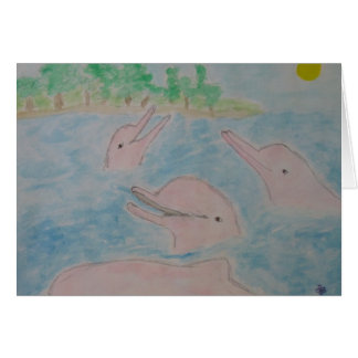 pink river dolphin paradise card