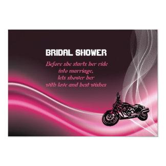 Pink road biker wedding bridal shower invitation