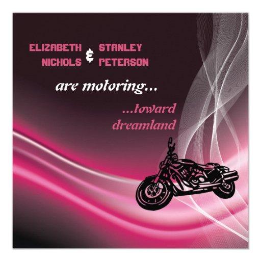 Pink road biker wedding invitation