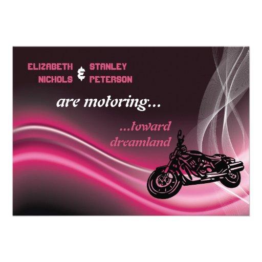 Pink road biker wedding invitation custom invitation