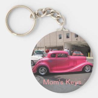 Pink Roadster Mom's Keys Basic Round Button Key Ring