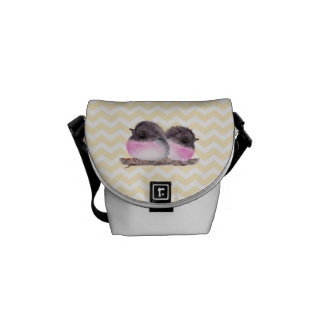 Pink robins baby birds yellow chevron pattern courier bags