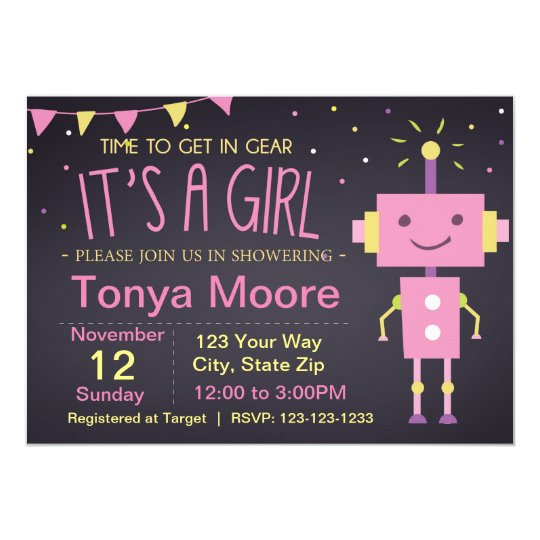 Pink Robot Baby Shower Invitation