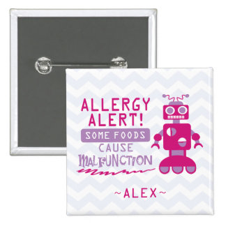 Pink Robot Food Allergy Alert Button