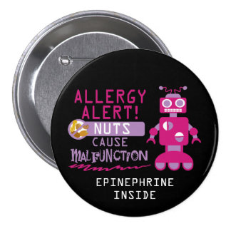 Pink Robot Nut Allergy Alert Girls Personalized 7.5 Cm Round Badge