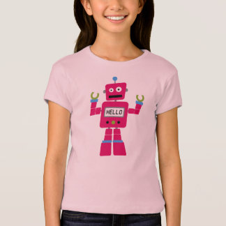 Pink Robot on fitted pink tee