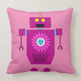 PINK ROBOT TOY Throw Pillow