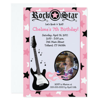 Pink Rock Star Guitar *PHOTO* Birthday 5x7 Card