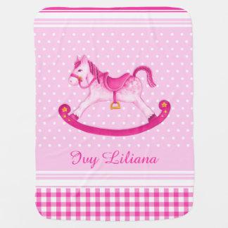 Pink rocking horse art name baby blanket
