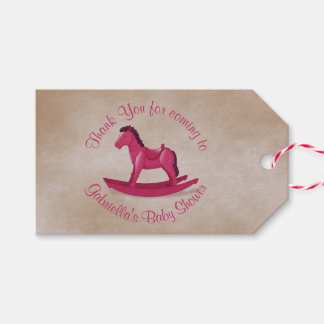 Pink Rocking Horse Baby Girl Custom Gift Tags