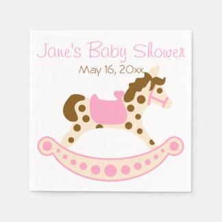 Pink Rocking Horse Baby Shower Disposable Serviette
