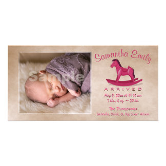 Pink Rocking Horse Birth Announcement Photo Greeting Card