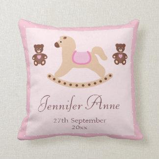 Pink Rocking Horse & Teddies New Baby Cushion