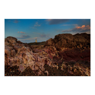 Pink rocks and Llanddwyn Island Poster