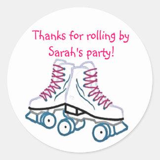 Pink Roller Skate Birthday Sticker