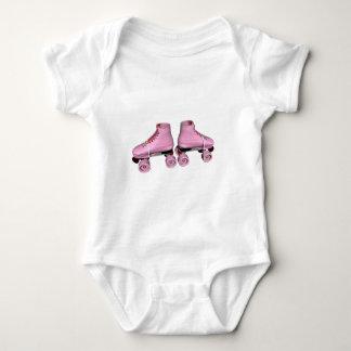 Pink Roller Skates Baby Bodysuit