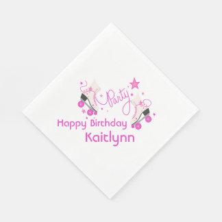 Pink Roller Skates Birthday Napkins Disposable Serviettes