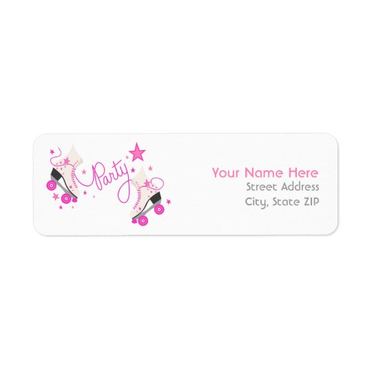 Pink Roller Skates Birthday Party Address Labels