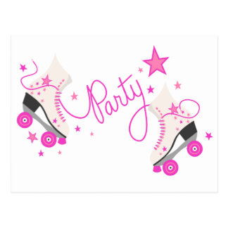Pink Roller Skates Birthday Party Postcard