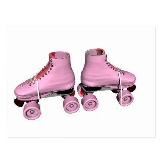 Pink Roller Skates Postcard