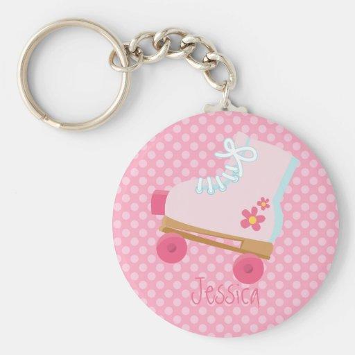 Pink Rollerskates dots Keychain