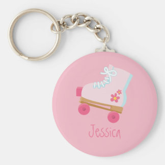 Pink Rollerskates Keychain