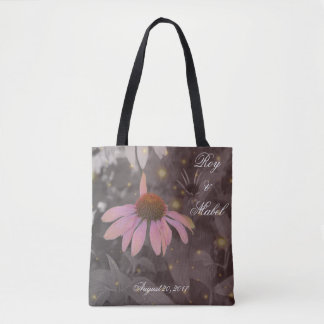 Pink romantic daisy flower tote bag