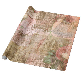 Pink Romantic Jane Linen Wrapping Paper