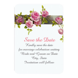 Pink Romantic Roses Save the date Personalized Invite