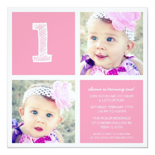 Pink Room for Squares First Birthday Party Photo Card