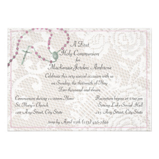 Pink Rosary and Lace Communion Invitation