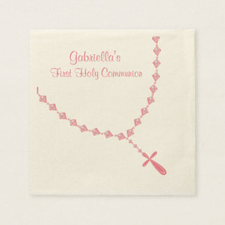 Pink Rosary Beads Communion Personalized Napkin Paper Napkin