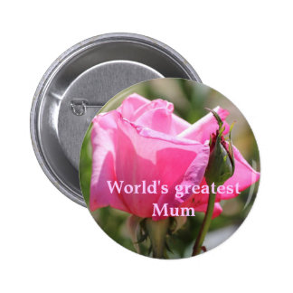 Pink Rose 6 Cm Round Badge