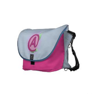 """Pink Rose """"A"""" Messenger Bag"""