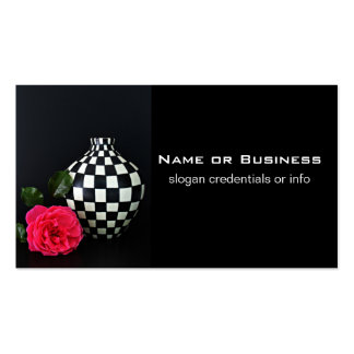 Pink Rose and a Checkered Vase Double-Sided Standard Business Cards (Pack Of 100)
