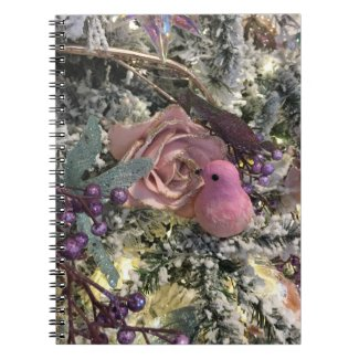 Pink rose and bird Christmas Notebook