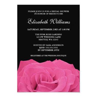Pink Rose and Black Bridal Shower 13 Cm X 18 Cm Invitation Card