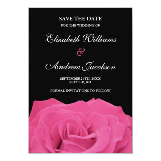 Pink Rose and Black Wedding Save the Date 13 Cm X 18 Cm Invitation Card