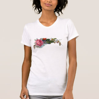 Pink Rose and Bud Victorian T Shirts