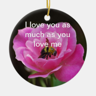 Pink Rose and bumble bee Round Ceramic Decoration
