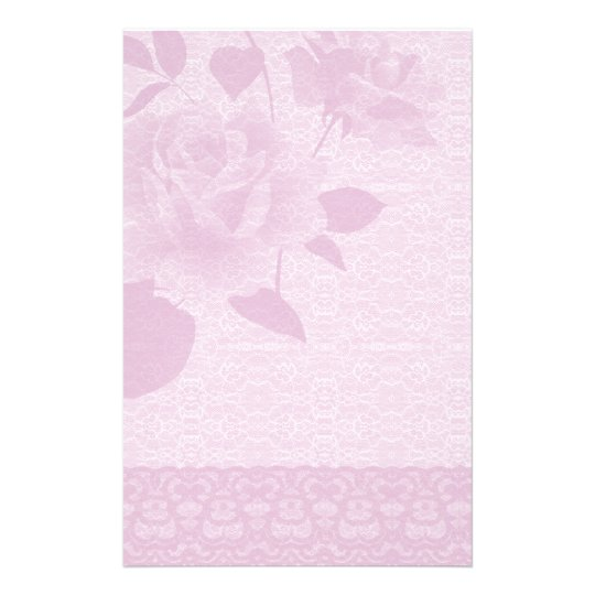 Pink Rose and Lace Paper Stationery