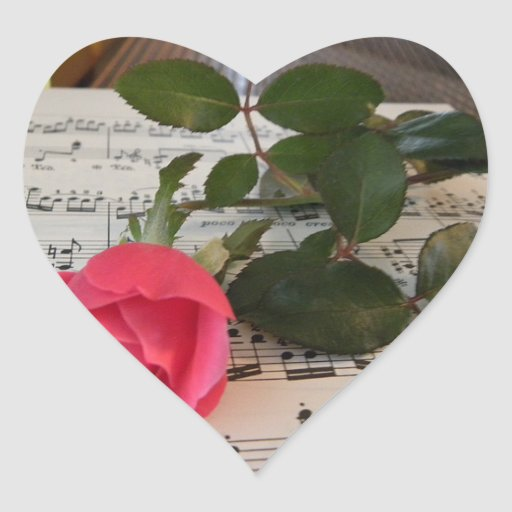 Pink Rose and Music Notes Heart Sticker