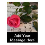 Pink Rose and Music Notes Postcard