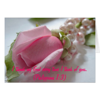 Pink rose and pearls greeting card
